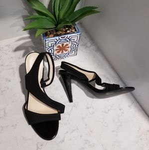 CALVIN KLEIN BLACK LEATHER HEELED SANDALS